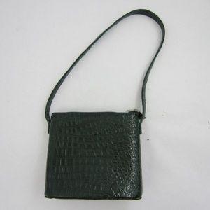 Vintage Stefani Faux-Croc Leather Shoulder Bag *J1